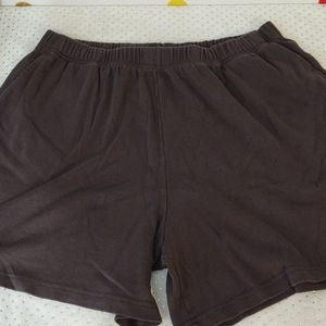 Roaman's Brown Knit Stretch Shorts